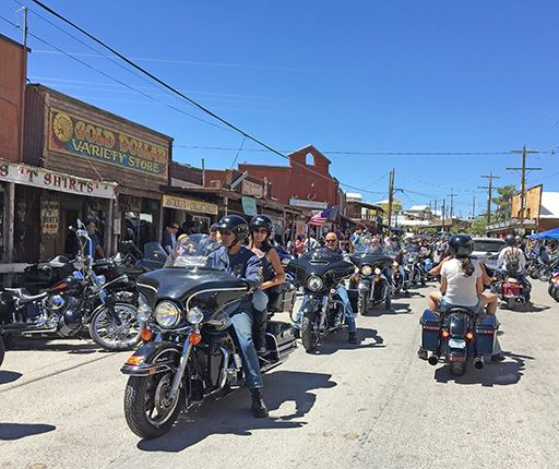 Oatman, motorcycle road trip to the Western with Air Moto Tours